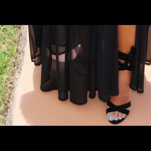Shoes - Black Suede Ankle Tie Block Heels